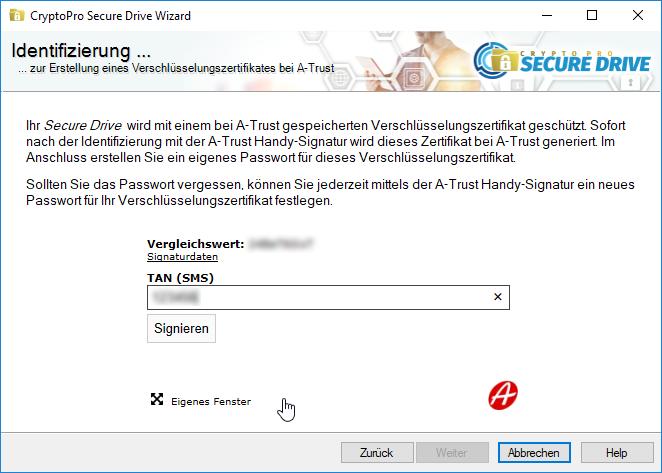 A-Trust CryptoPro Secure Drive - Wizard - Handy-Signatur TAN eingeben