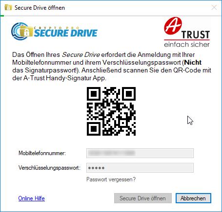 A-Trust CryptoPro Secure Drive - Wizard - Secure Drive öffnen - QR Code scannen