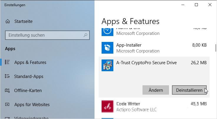 A-Trust CryptoPro Secure Drive - Deinstallieren - Windows 10