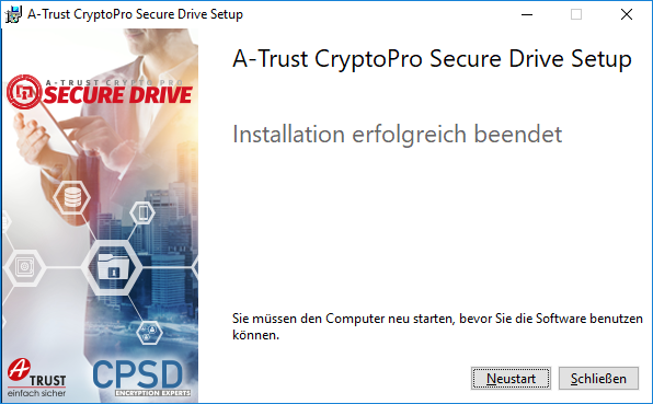 A-Trust CryptoPro Secure Drive - Setup - Beendet