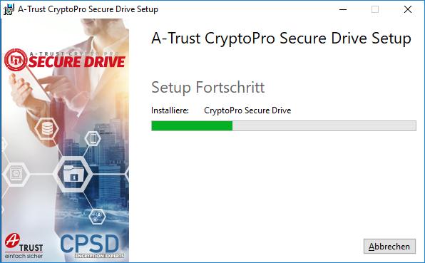 A-Trust CryptoPro Secure Drive - Setup - Fortschritt