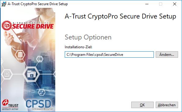 A-Trust CryptoPro Secure Drive - Setup - Optionen - Ziel-Verzeichnis