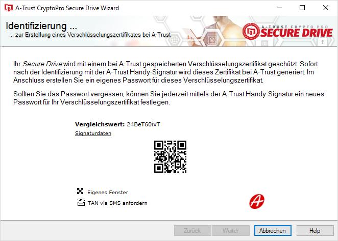 A-Trust CryptoPro Secure Drive - Wizard - Handy-Signatur Vergleichswert vergleichen