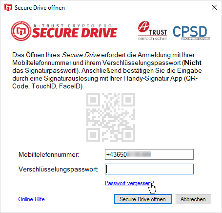 A-Trust CryptoPro Secure Drive - Wizard - Secure Drive öffnen - Passwort vergessen