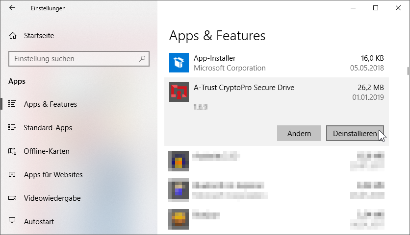 A-Trust CryptoPro Secure Drive - Deinstallieren - Windows 10