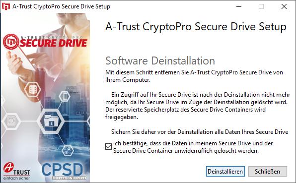 A-Trust CryptoPro Secure Drive - Deinstallieren - Deinstallation