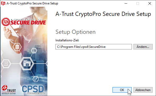 CryptoPro Secure Drive - Setup - Optionen - Speicherort