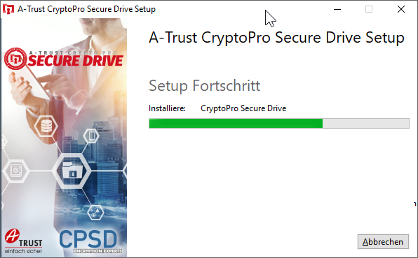 CryptoPro Secure Drive - Setup - Fortschritt