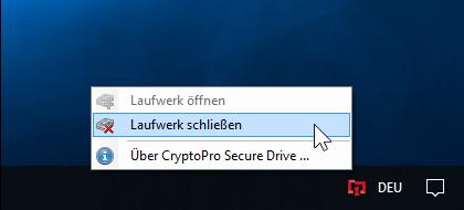 A-Trust CryptoPro Secure Drive - Taskleiste - Secure Drive schließen