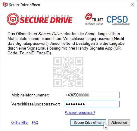 A-Trust CryptoPro Secure Drive - Laufwerk öffnen - Secure Drive öffnen