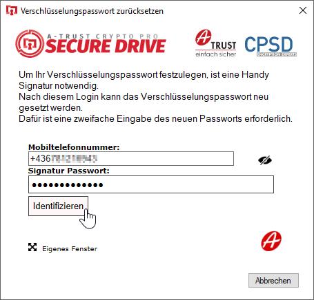 A-Trust CryptoPro Secure Drive - Wizard - Secure Drive öffnen - Passwort vergessen - Zurücksetzen