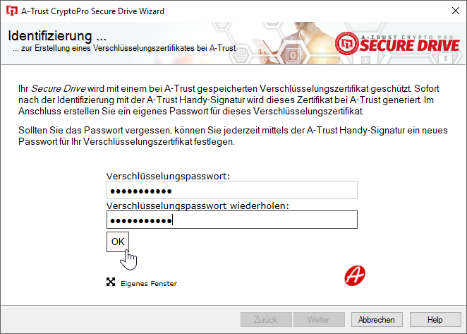 A-Trust CryptoPro Secure Drive - Wizard - Verschlüsselungszertifikat Passwort setzen