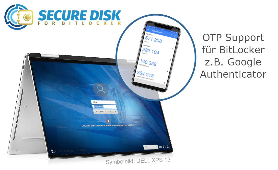 Secure Disk for BitLocker OTP Support mit Google Authenticator